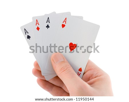 Hand and four aces, isolated on white background