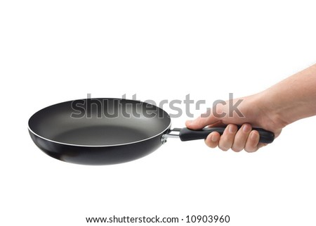 Hand and frying pan, isolated on white background