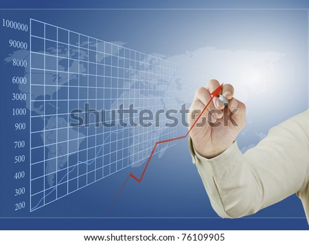 hand and graphs - stock photo