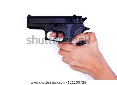 hand and gun - stock photo