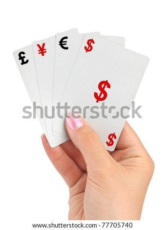 Hand and money cards isolated on white background