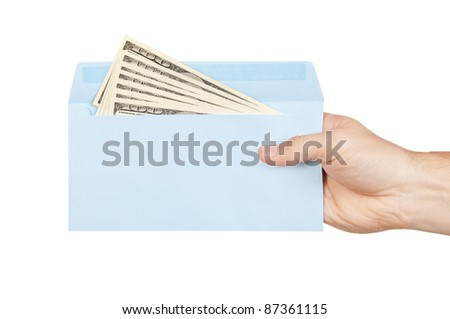 Hand and money in blue envelope isolated on white background