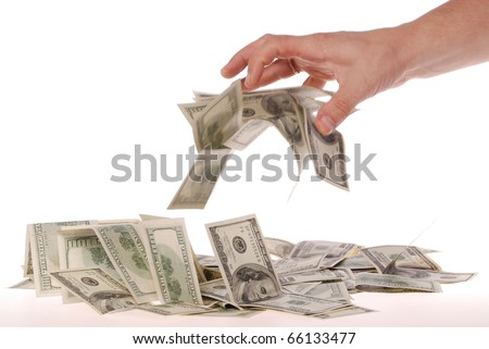 Hand and money, isolated on white background
