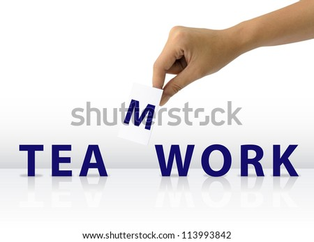 Hand and Paper Hold for Fill Teamwork Business Word