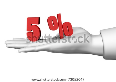 Hand and 5 red percentage symbol isolated on white background
