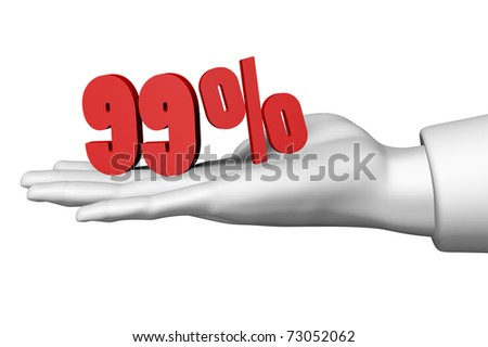 Hand and 99 red percentage symbol isolated on white background