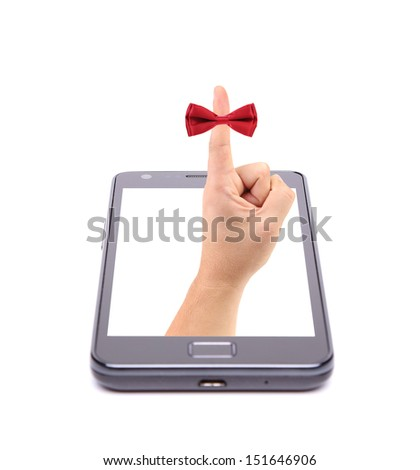 Hand and red tie bow gets out of phone.