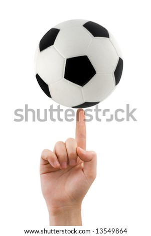 Hand and spinning soccer ball isolated on white background