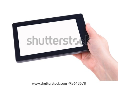 Hand and Tablet PC. Photos on white background