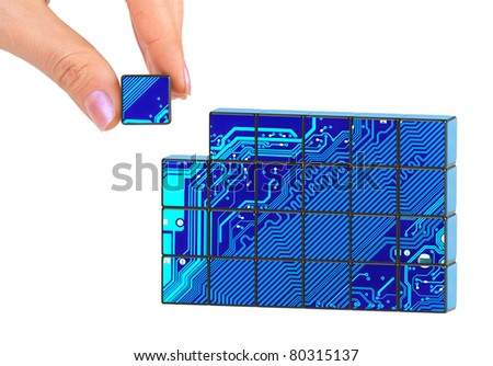 Hand and technology puzzle isolated on white background