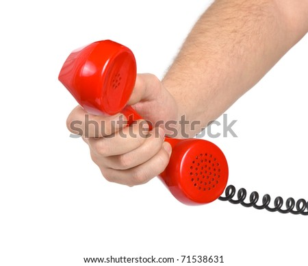 Hand and telephone isolated on white background