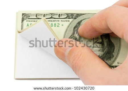 Hand and wad of paper isolated on white background