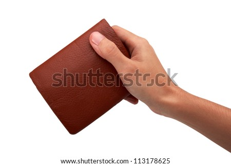 Hand and wallet, isolated on white background