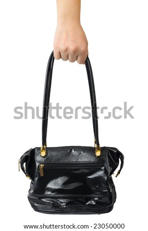 Hand and woman bag isolated on white background