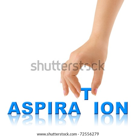 Hand and word Aspiration isolated on white background