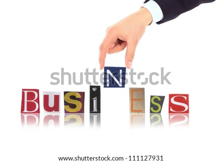 Hand and word Business isolated on white background