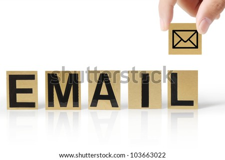 Hand and word email on white background
