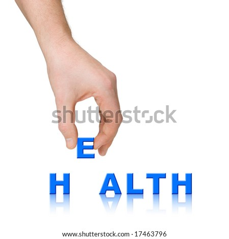 Hand and word Health isolated on white background
