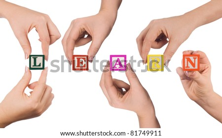 Hand and word Learn isolated on white background
