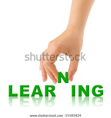 Hand and word Learninig - education concept