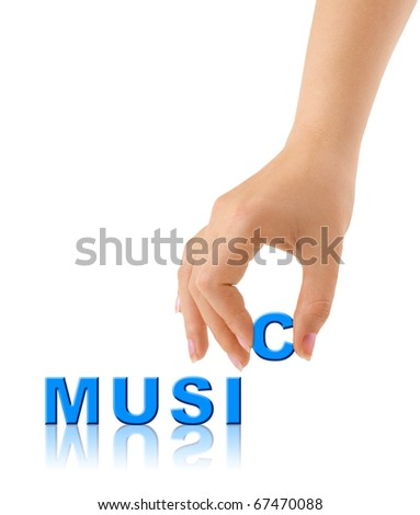 Hand and word Music isolated on white background