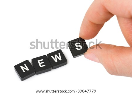 Hand and word News isolated on white background