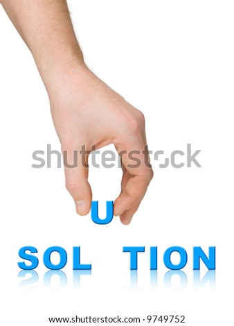 Hand and word Solution, business concept, isolated on white background