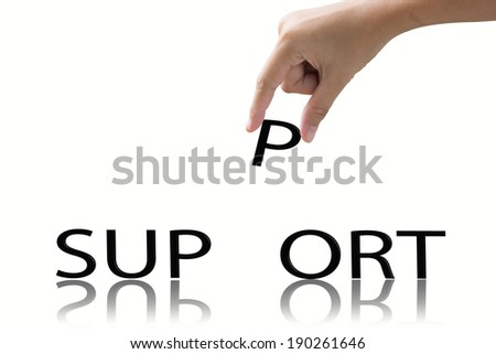 Hand and word support concept.  #190261646