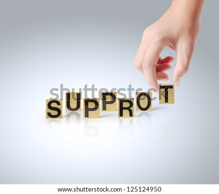 Hand and word Support on white background