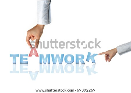 Hand and word Teamwork - business concept (isolated on white background)