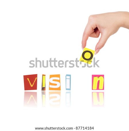 Hand and word vision isolated on white background