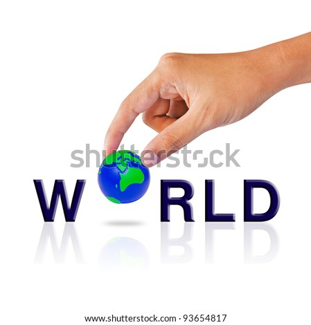 Hand and word world concept - stock photo