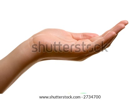 stock photo hand as if holding something open space