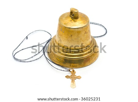 Hand-bell and dagger on a white background