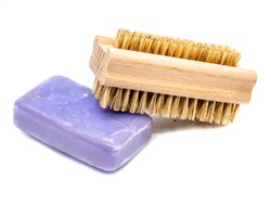 Hand brush and soap isolated on white background