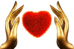 Hand Buddha gold and the heart
