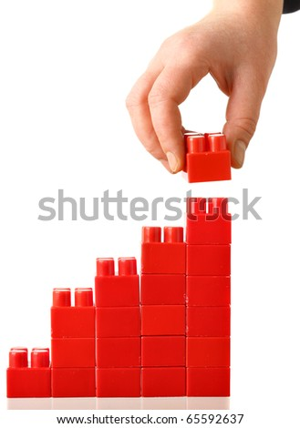 Hand built red barchart isolated over the white background