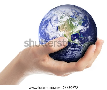 Hand carefully holding planet Earth. Earth globe image provided by NASA (http://visibleearth.nasa.gov)