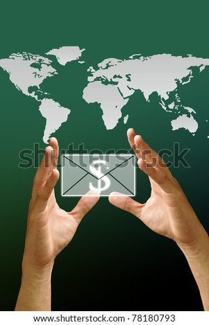 Hand carry the email icon with the world map background, Concept