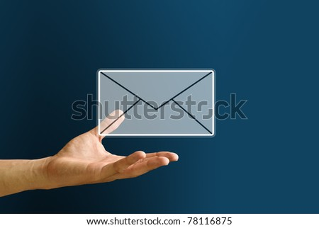Hand carry the mail icon, You got mail concept