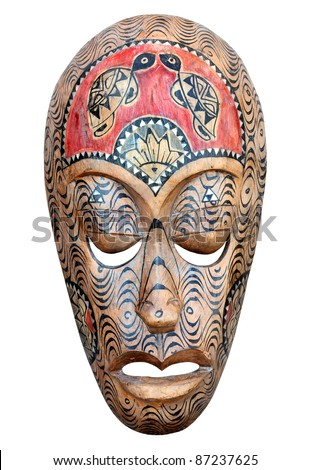 Hand carved wooden Haiti mask isolated on a white background