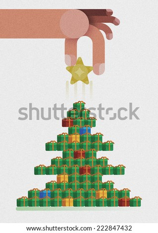 Hand catch star ornaments on Christmas tree by Christmas concept  #222847432