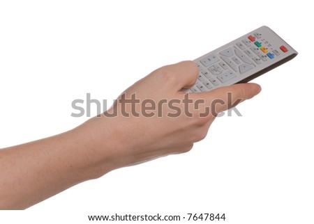 Hand changing a channel with a remote controller over white background.
