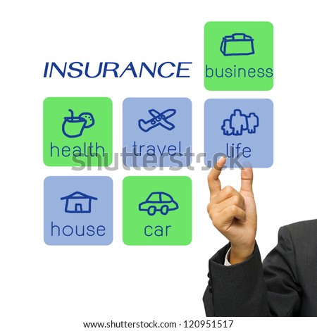 Hand choosing an insurance type icon