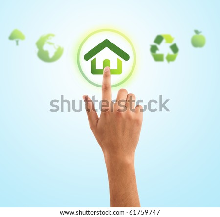 hand choosing home symbol from eco green icons, gradient background