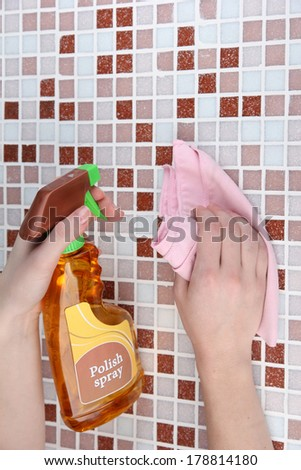 Hand cleaning mosaic wall