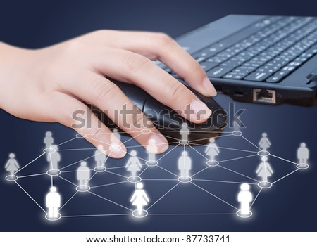 Hand click mouse with social network.