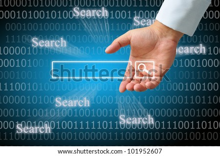 Hand clicking internet search page on computer touch screen