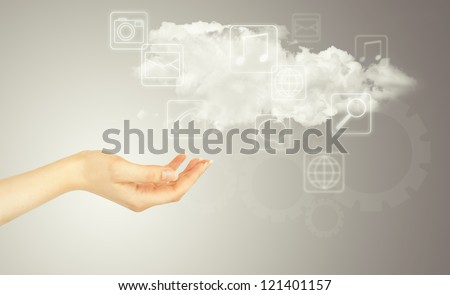 Hand, cloud and multimedia icons. Cloud computing concept - world wide data sharing and communication