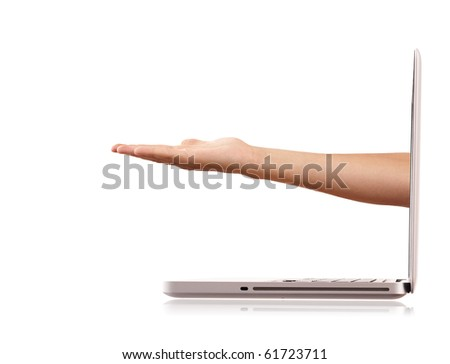 Hand come out from a screen of a laptop computer isolated on white background.